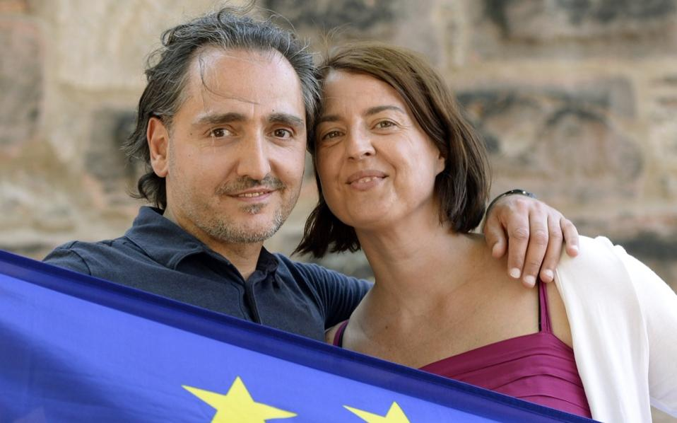 Anestis Aslanidis and Bettina Zauhar in the shadow of Nuremberg Castle where they first met in 2009 at a demonstration for European unity.