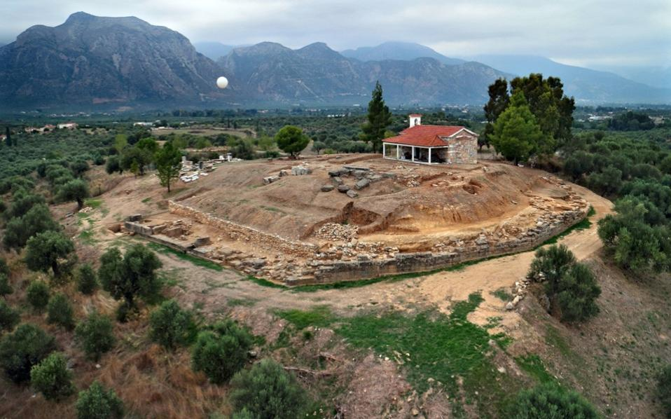 A handout photo released by the Greek Ministry of Culture on Tuesday shows the excavations site with remains of a palace of the Mycenaean period (17-16  century BC.), bearing important inscriptions in archaic Greek, discovered near Sparta in the Peloponnese region of Greece.