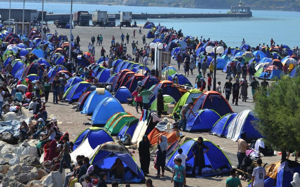 Lesvos Mayor Spyros Galinos said that there may be more than 20,000 refugees on the island and that some 10,000 have gathered around the port.