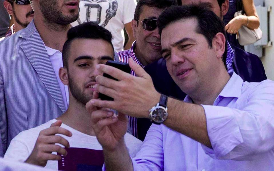 SYRIZA leader Alexis Tsipras seen during a campaign visit to Crete, Tuesday.