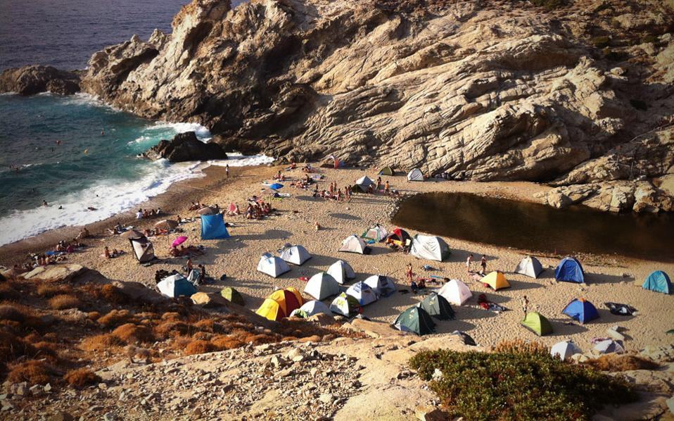 Wild camping on Nas beach, on the central Aegean island of Icaria.