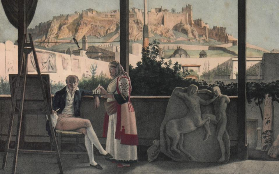 Detail from a lithograph by artist Louis Dupre depicting Louis Fauvel posing alongside the Greek antiquities he kept at home. Among them is the torso of a sculpture of an ancient Greek soldier on display at the Athens museum.
