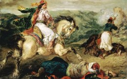 'Guerrier grec a cheval' (1856), painting by Eugene Delacroix currently on display in Lausanne. Experts claim that the first period of overindebtedness began with loans issued in London in 1824-5 to finance the Greek War of Independence from Ottoman rule.