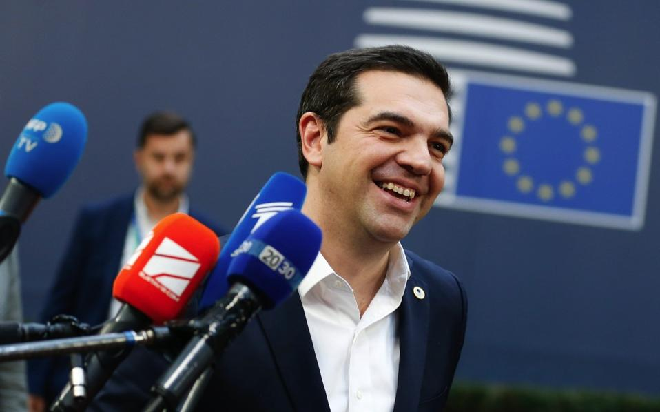 Greek Prime Minister Alexis Tsipras arrives at the EU Summit in Brussels, on Thursday.