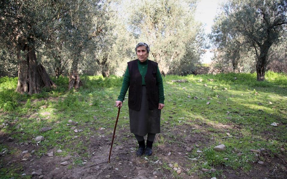 Emilia Kamvisi, an 85-year-old grandmother, is seen outside her home on the Greek island of Lesvos, on Monday, after she was nominated for the Nobel Peace Prize.