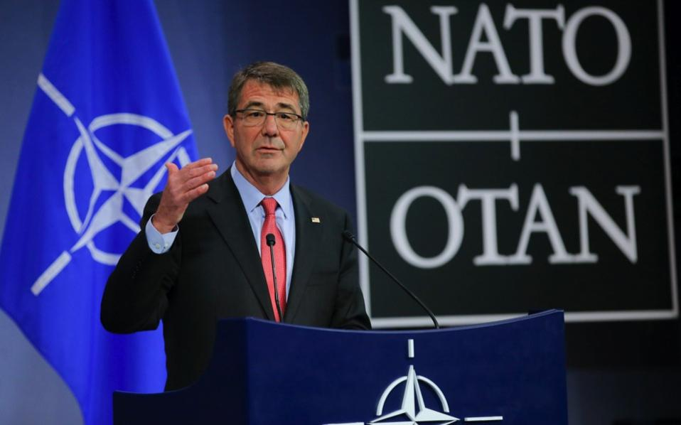 US Secretary of State for Defense Ashton Carter gives a press conference on the second day of the NATO Defense Ministers Council at alliance headquarters in Brussels, on Thursday. NATO defence ministers agreed to plan for a surveillance mission in the Aegean Sea between Turkey and Greece to help crack down on migrant smuggling operations, Carter said.