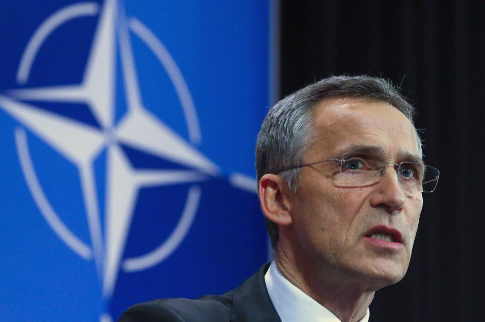 NATO Secretary-General Jens Stoltenberg holding a news conference in Brussels on Tuesday.
