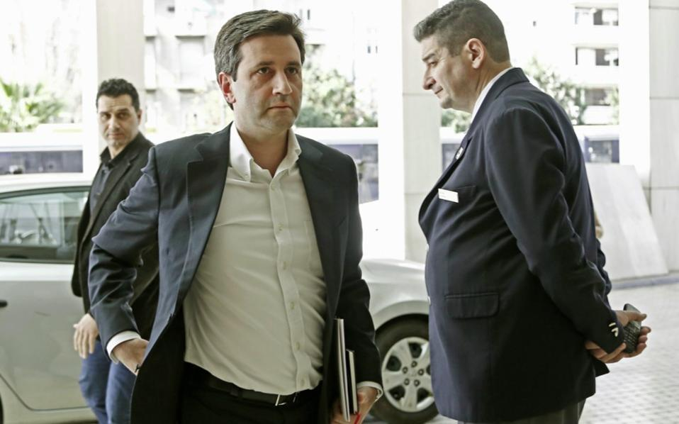 Greek Alternate Minister of Finance George Chouliarakis arriving for talks with the country's creditors in Athens on Monday.