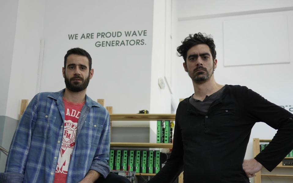 Christos Daifotis (l) and Yiannis Diakoumakos (r) started out by experimenting with constructing music equipment and are now enjoying growing exports.