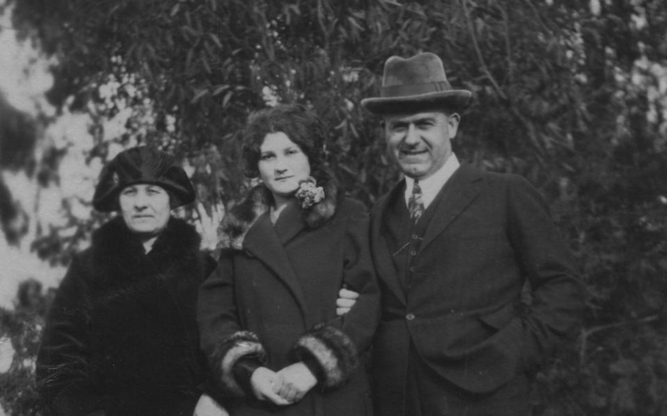 John Jerome with Daisy Economakis in 1927, 10 years before they were married, with Daisy's mother, Pauline, standing to her left.
