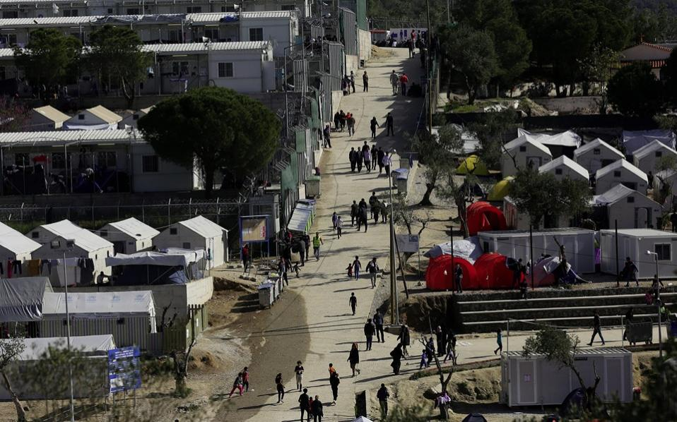 A general view over the hotspot refugee camp, formerly a detention centre, in Moria, Lesvos island, on Tuesday.