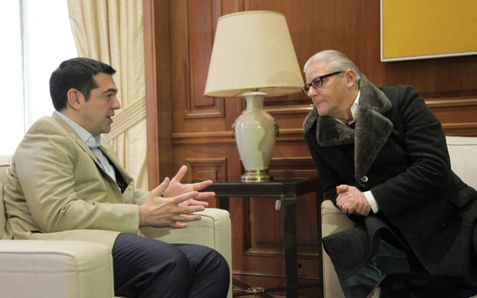 Alexis Tsipras and Jan Fabre at Maximos Mansion on Wednesday.