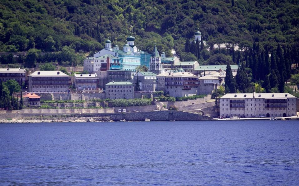 A view of the Russian monastery St. Panteleimon in Karyes, on Mount Athos.