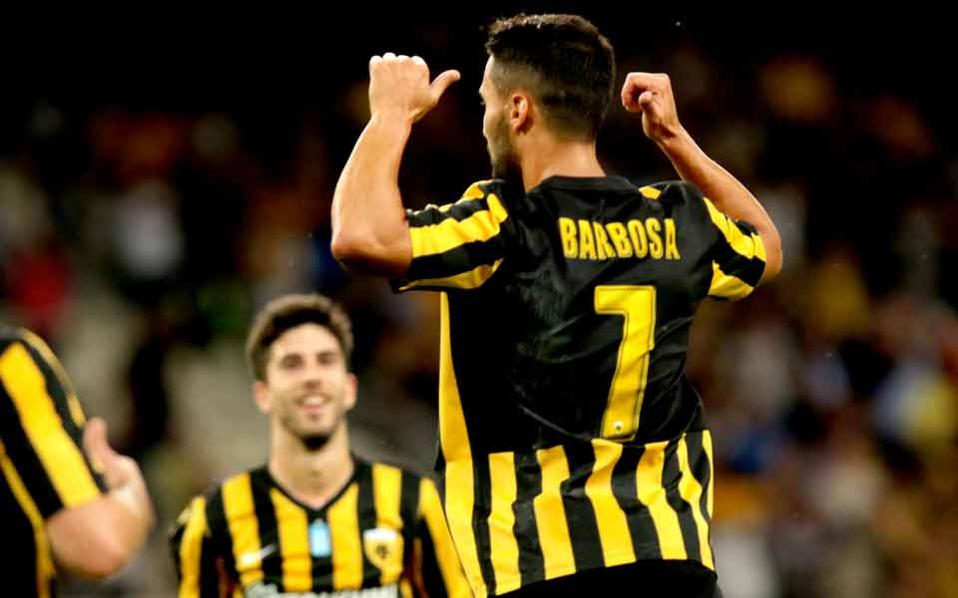 Helder Barbosa scored twice for AEK against Panathinaikos