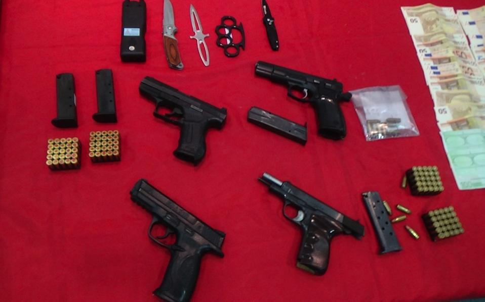 A police handout photo from October 2015 shows some of the weapons seized during the first part of the investigation into the criminal group.