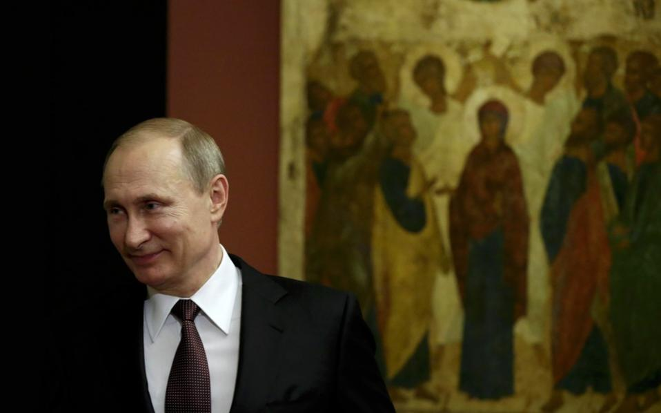 Russian President Vladimir Putin visited the Byzantine and Christian Museum in Athens on Friday.