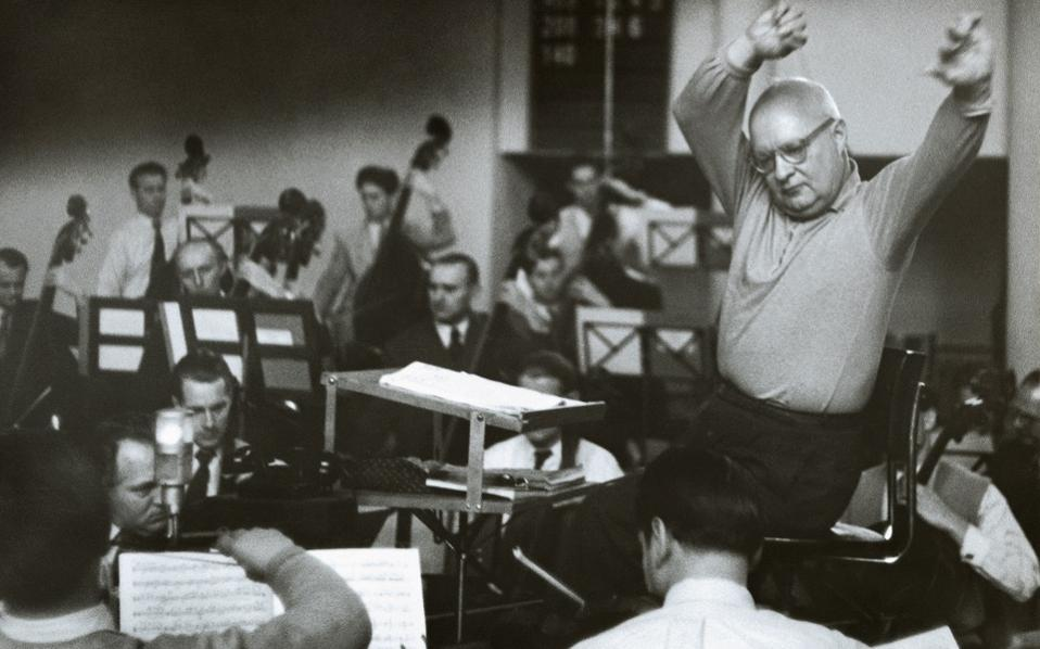 Paul Hindemith (1895-1963) conducts a recording for Deutsche Grammophon. He is one of many world-renowned musicians and composers to have collaborated with the German label since its inception in 1898. [Photo: Ullmann, Berlin/DG Archive]
