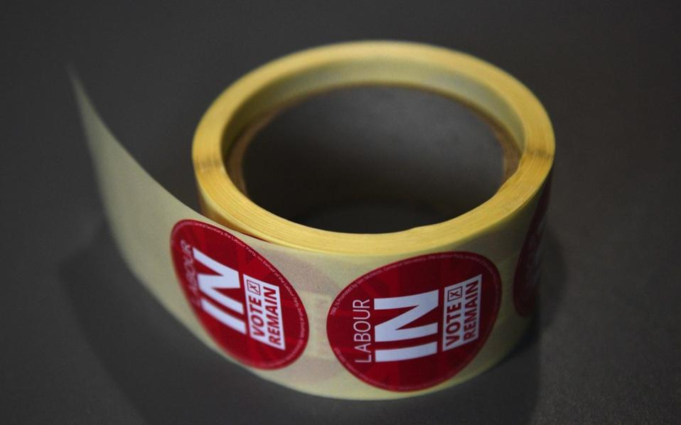 A roll of stickers offered to audience members at a 'Labour IN' event, promoting the case to remain in the EU, in The Union building of Manchester Metropolitan University in Manchester, northern England on June 16.