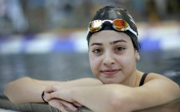 Swimming and Olympic hopeful Yusra Mardini of Syria shown at a training session in Berlin.