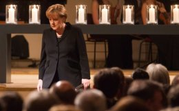 German Chancellor Angela Merkel is seen during a commemorative event for victims of right-wing extremist violence, at the Concert House in Berlin in February 2012. Before 1,200 guests, Merkel said, in reference to the NSU: 'The murders of the Thuringian terror cell were an attack on our country. They have brought shame upon our country.'