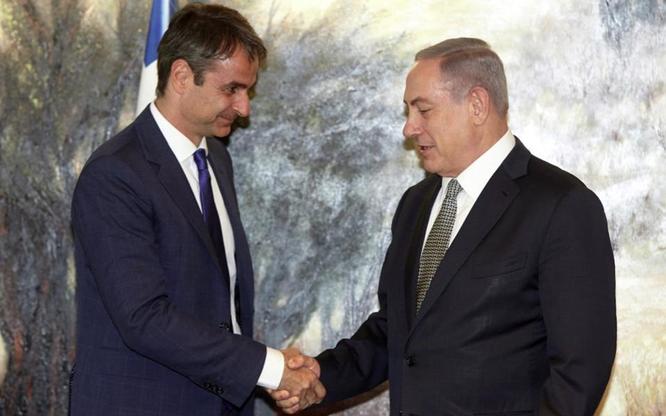 Greek opposition leader Kyriakos Mitsotakis meeting with Israeli Prime Minister Benjamin Netanyahu on Monday.