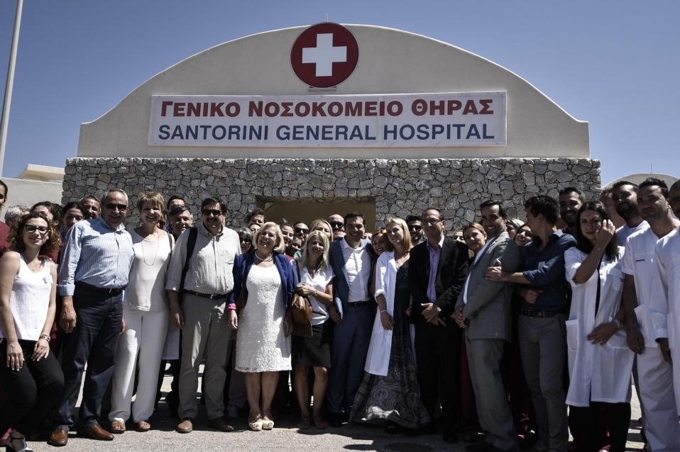 Prime Minister Alexis Tsipras (c) visited Santorini General Hospital on Friday