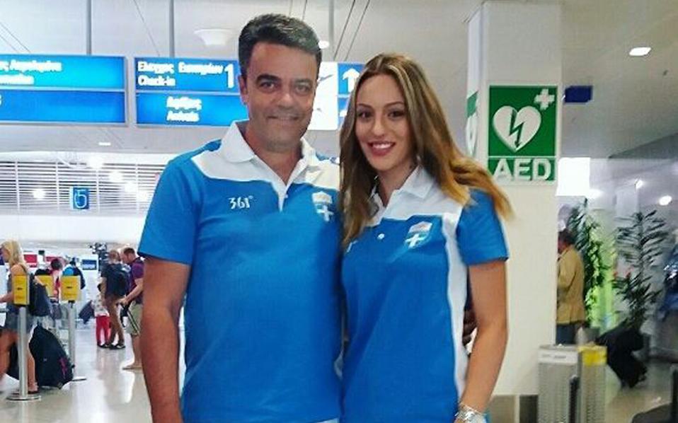 Anna Korakaki with her father and coach, Tasos Korakakis.