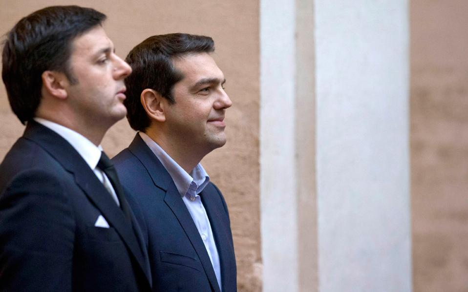 Italian PM Matteo Renzi and Greece's premier Alexis Tsipras in a file photo.