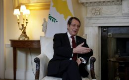 Cyprus President Nicos Anastasiades speaks during his meeting with British Prime Minister Theresa May at 10 Downing Street in London, Tuesday.