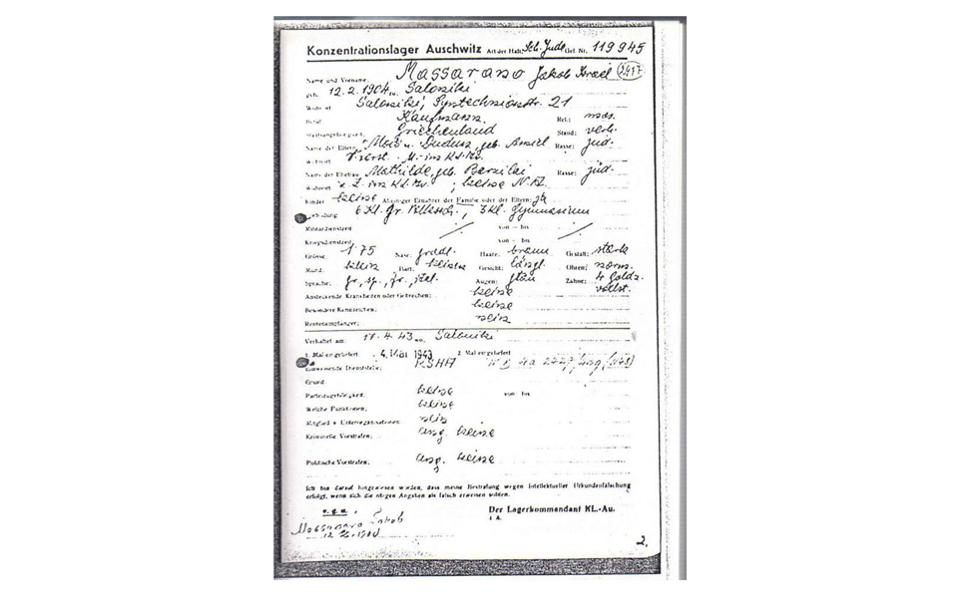 Jacob Massarano's declaration at Auschwitz, where he was given the inmate number 119945.