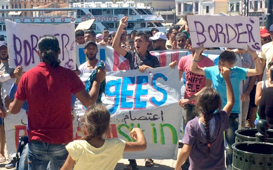 Protests were also held on the islands of Chios and Lesvos.