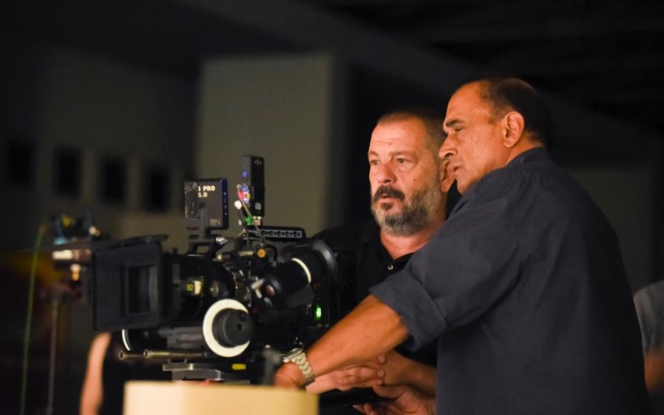 Director Giorgos Kordellas (left) and director of photography Costas Gikas (right) on set.