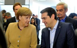 Angela Merkel and Alexis Tsipras in a file photo.