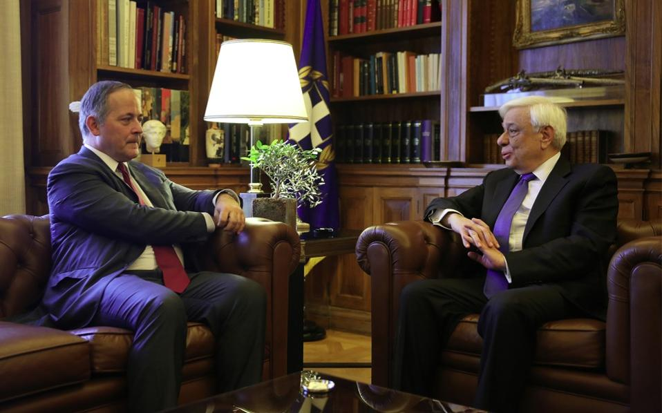ECB executive Benoit Coeure meeting with Greek President Prokopis Pavlopoulos in Athens on Monday.ens