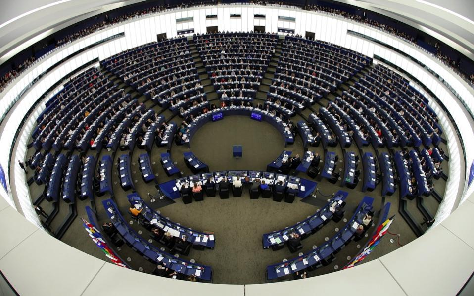 Members of the European Parliament take part in a voting session at the European Parliament in Strasbourg, Thursday. Picture taken with a fisheye lens.
