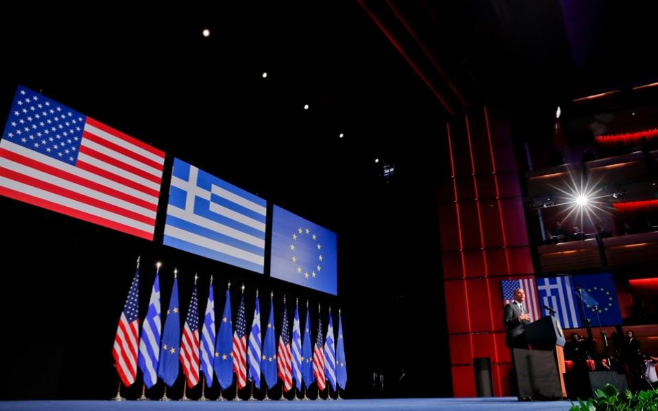 The US president gives a speech on the values of democracy at the Stavros Niarchos Foundation Cultural Center on Athens's southern coast, on Wednesday.