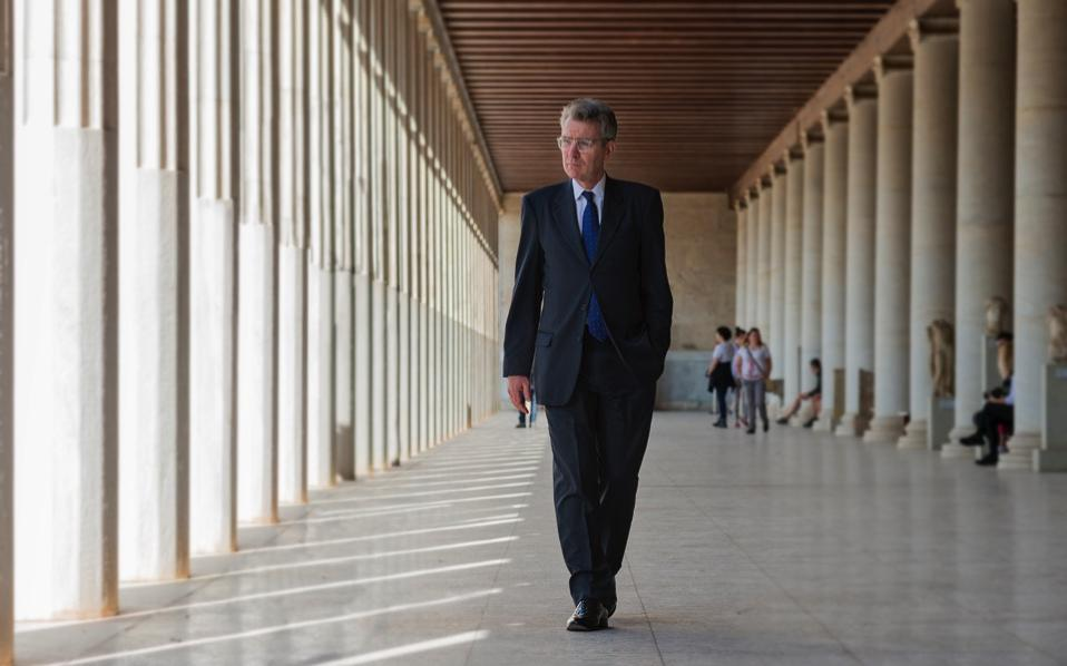 US Ambassador Geoffrey Pyatt is seen during a visit to the Stoa of Attalos in the Ancient Agora next to the Acropolis in Athens. In an interview with Kathimerini, Pyatt described Greece as a pillar of stability in a region that is facing a series of challenges.
