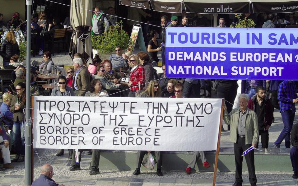 Samos residents protested the government's immigration policy on Monday.
