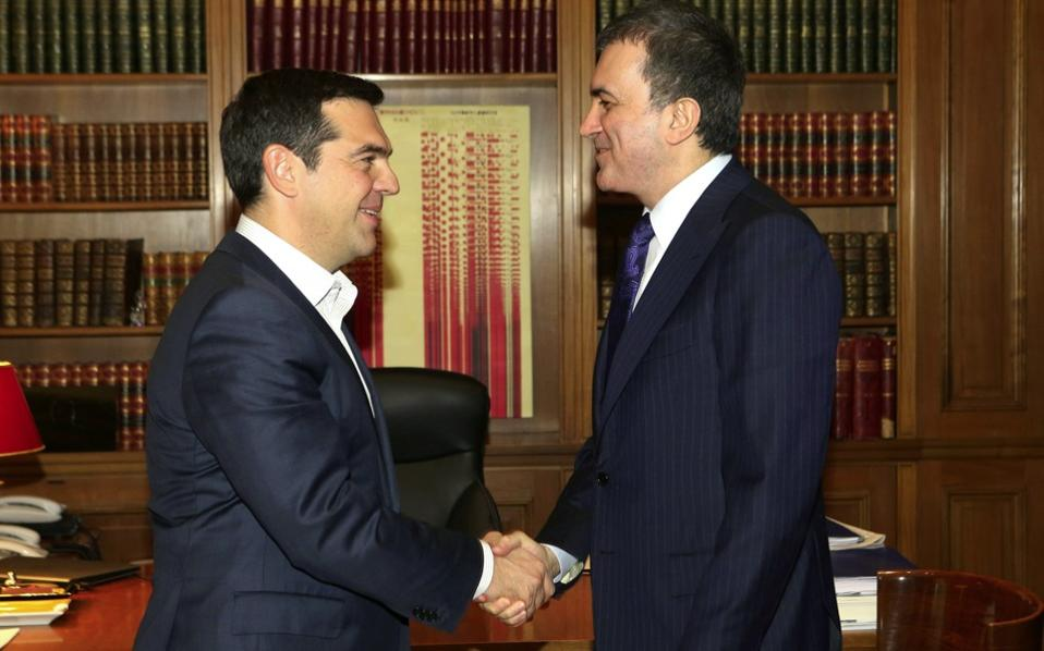 MinisGreek PM Alexis Tsipras and Turkey's Minister for European Affairs Omer Celik met at the Maximos Mansion on Wednesday.