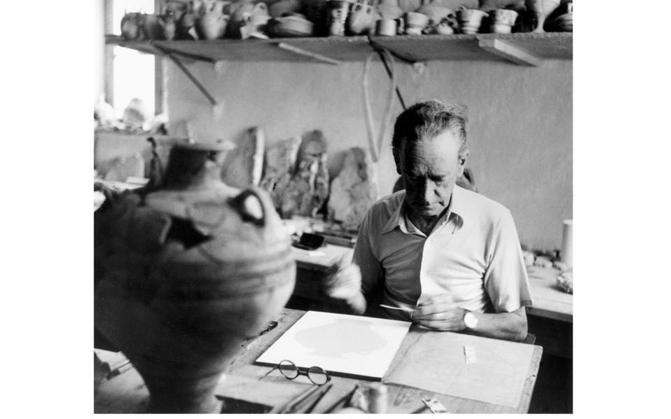 British-Dutch artist Piet de Jong working on the reconstruction of material from Nestor's Palace in Pylos in 1955.