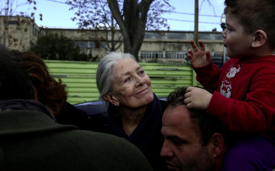 Vanessa Redgrave visited the Eleonas refugee camp in January.