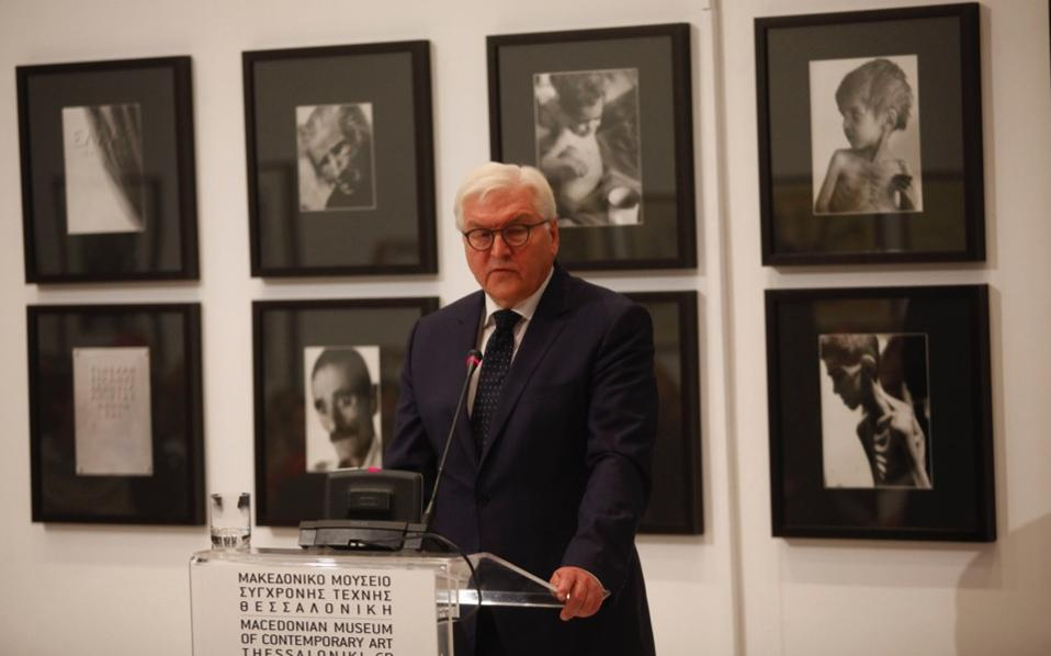 German Foreign Minister Frank-Walter Steinmeier speaks during a press conference for the opening at the Macedonian Museum of Contemporary Art, on Sunday.