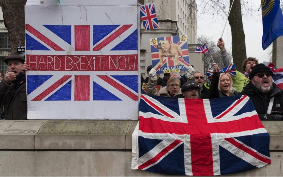 Demonstrators call for Brexit a day prior to Supreme Court verdict on Brexit, on Monday.