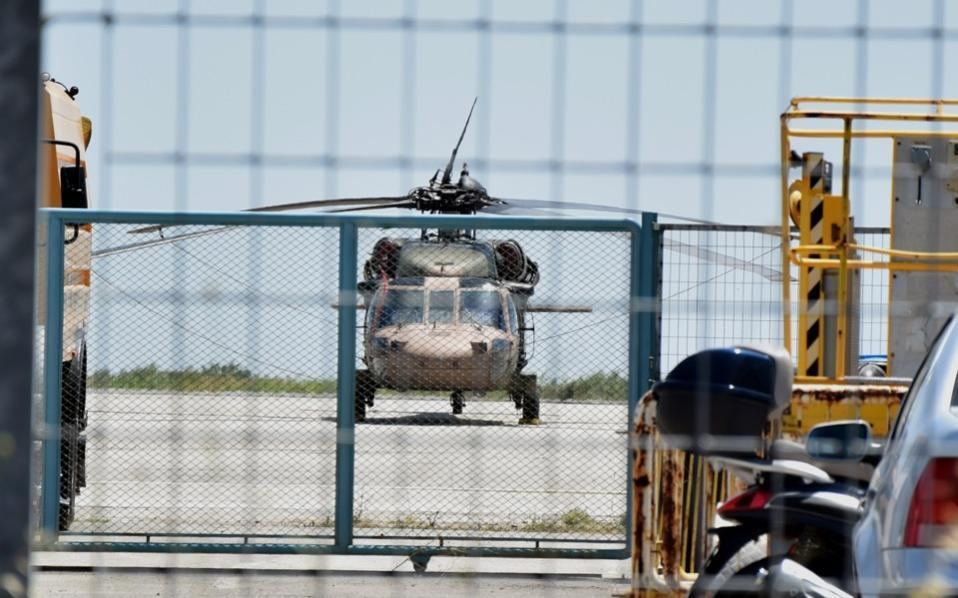 The helicopter the eight Turkish servicemen used to fly across the border to Alexandroupoli.