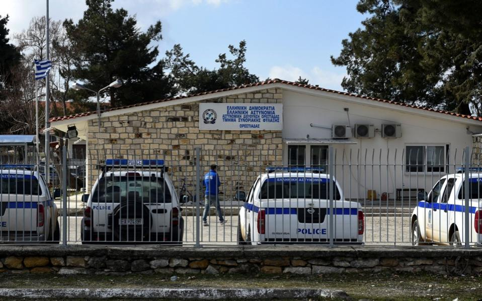 A man makes his way at the premises of the Border Control Police station of Orestiada, at the village of Neo Cheimonio, Thursday.