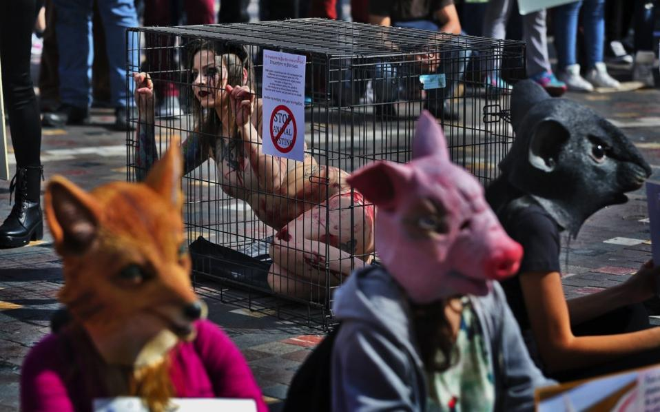 Animal Rights Activists Protest In Athens