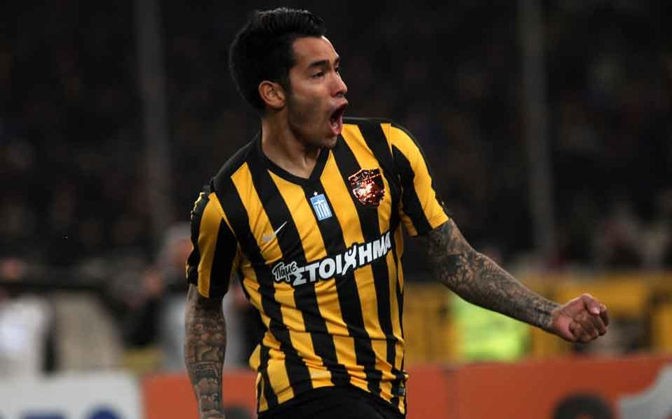 Sergio Araujo, on loan from Las Palmas, has scored six goals in eight games for AEK in league and cup so far.