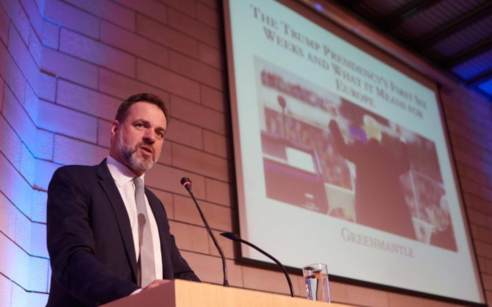 Niall Ferguson speaking at the Constantine Karamanlis Foundation in Athens earlier this month. Ferguson was a harsh critic of Barack Obama's economic and foreign policy, and genuinely hopes the new government, under the guidance of House Speaker Paul Ryan, will implement the reforms necessary to restore the American economy's lost dynamism.