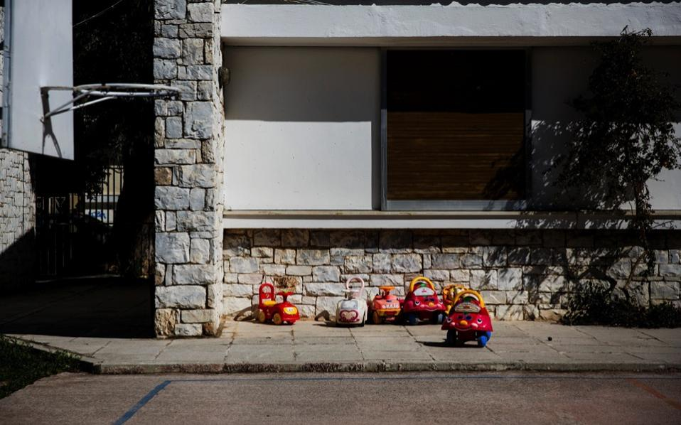 Toys are seen at the yard of the Model National Nursery of Kallithea, in Athens, earlier this month.