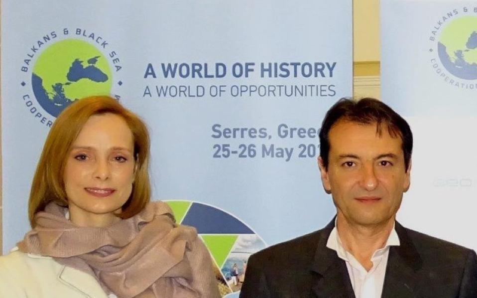 Siwarde Sap with Giannis Balakakis of the Geo Routes Cultural Institute. Mrs. Sap is a senior member of the Steering Committee of the Balkans and Black Sea Cooperation Forum. She is also an adviser on economic affairs to the Embassy of the Netherlands in Greece.